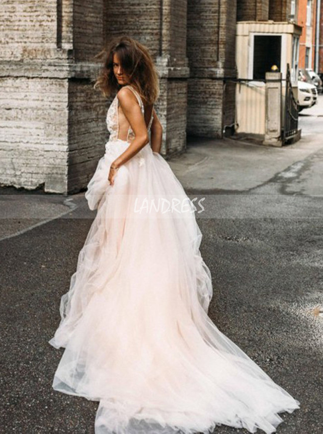 A-line See Through Wedding Dress,Tulle Wedding Dress,12153