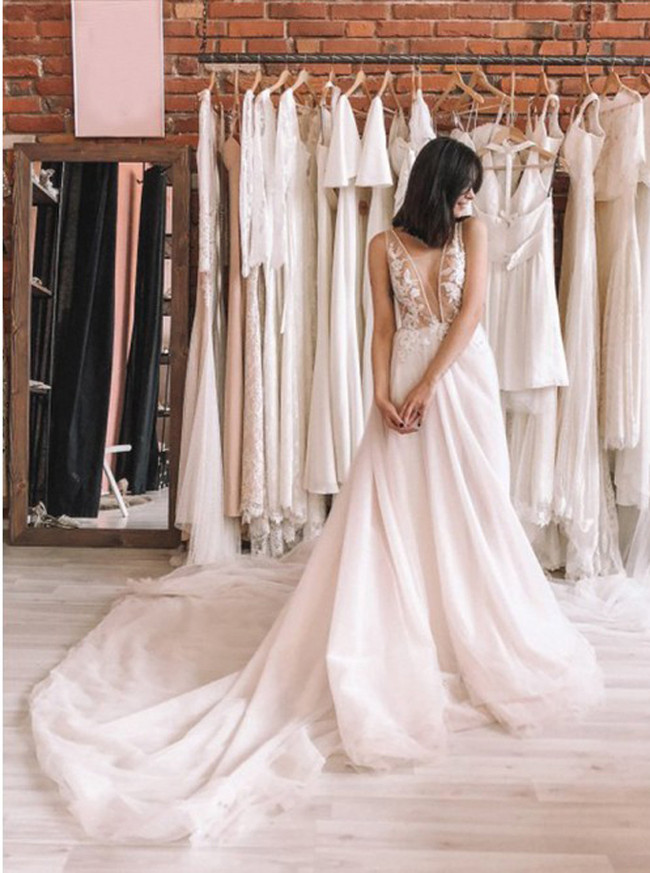 A-line See Through Wedding Dress,Tulle Wedding Dress,12153