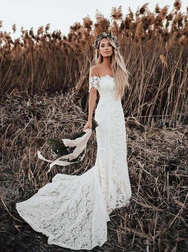 Lace Off the Shoulder Wedding Dress,Rustic Wedding Dress,12155