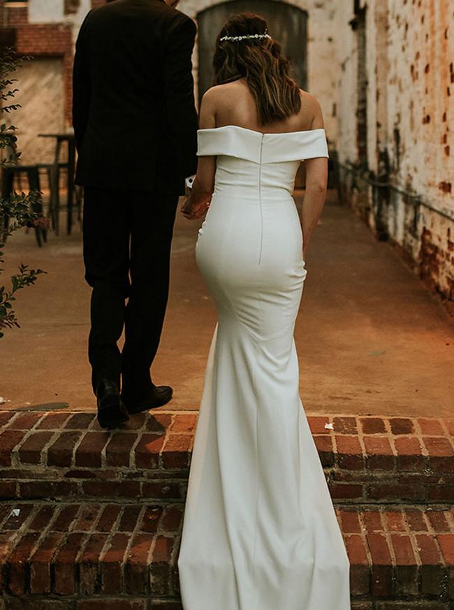 Off the Shoulder Wedding Dress,Simple Mermaid Bridal Dress,12157