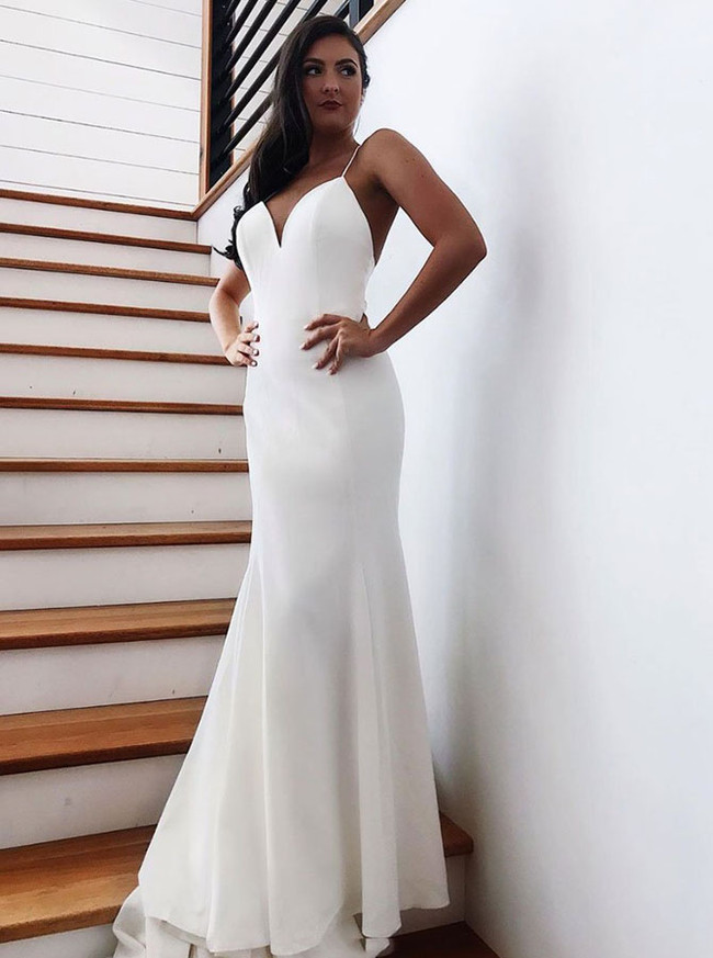 Simple Wedding Dress with Spaghetti Straps,Spandex Mermaid Bridal Dress,12158