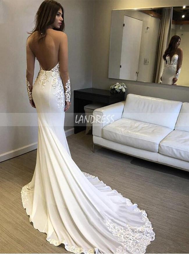 Illusion Long Sleeves Wedding Dresses,Mermaid Bridal Dress,12159