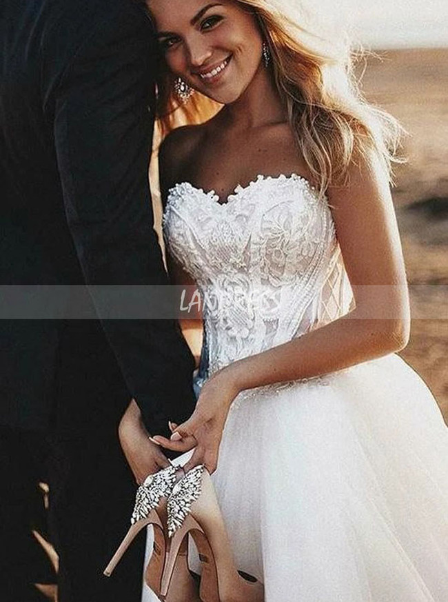 Strapless Wedding Dress,Destination Tulle Bridal Dress,12160