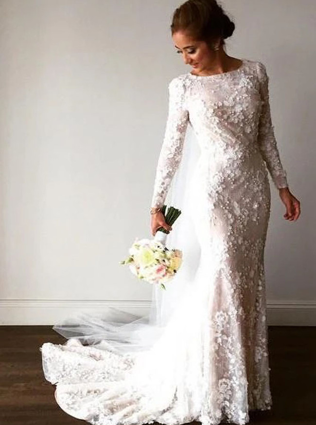 Trumpet Wedding Dress with Long Sleeves,Modest Lace Wedding Dress,12161