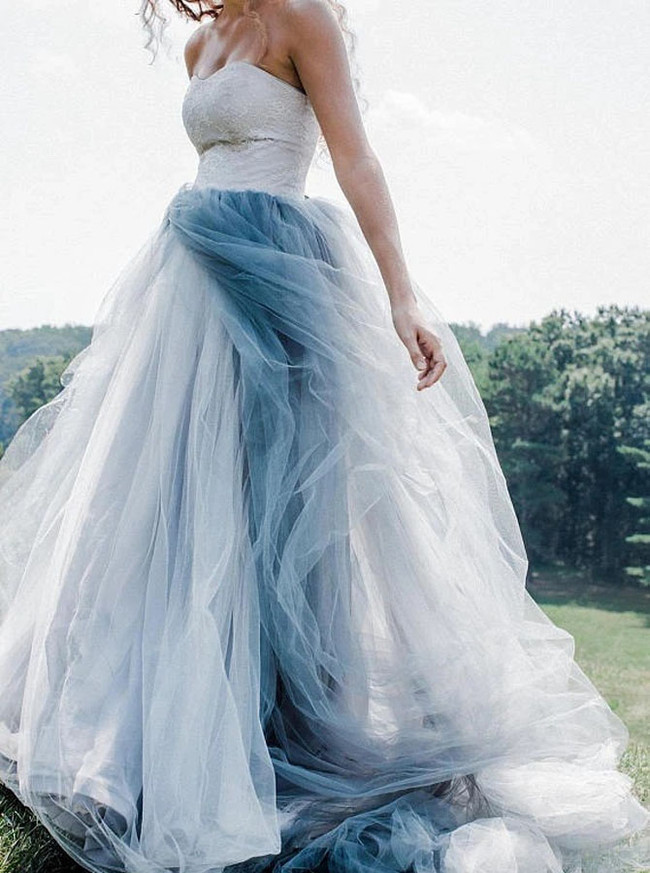 Dusty Blue Wedding Dress,Destination Dress for Photoshoot,12162