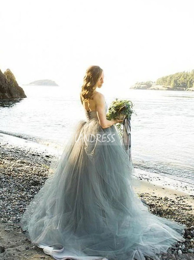 Dusty Blue Wedding Dress,Destination Dress for Photoshoot,12162