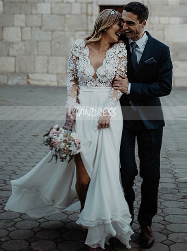 Plus Size Long Sleeves Wedding Dress,Outdoor Chiffon Wedding Dress,12163