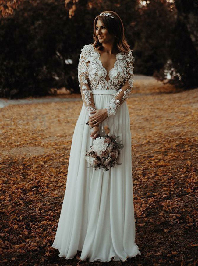 Plus Size Long Sleeves Wedding Dress,Outdoor Chiffon Wedding Dress,12163