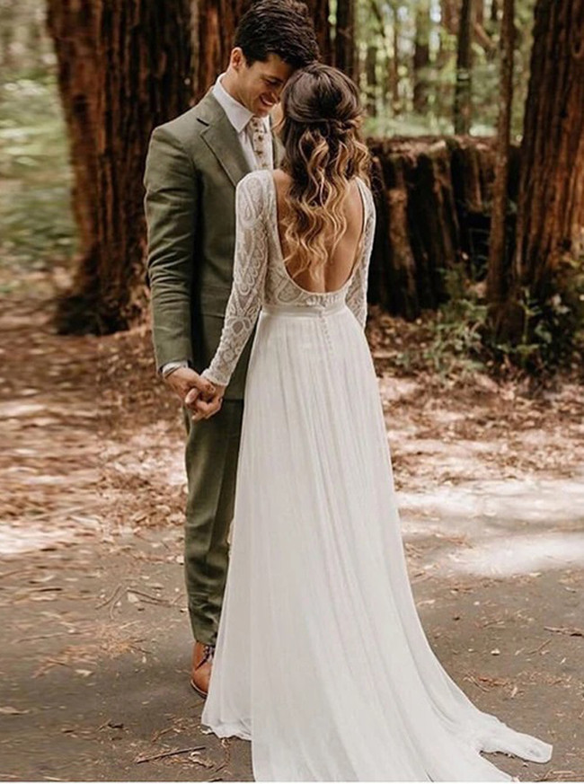 Boho Wedding Dress,Modest Wedding Dress with Long Sleeves,12164