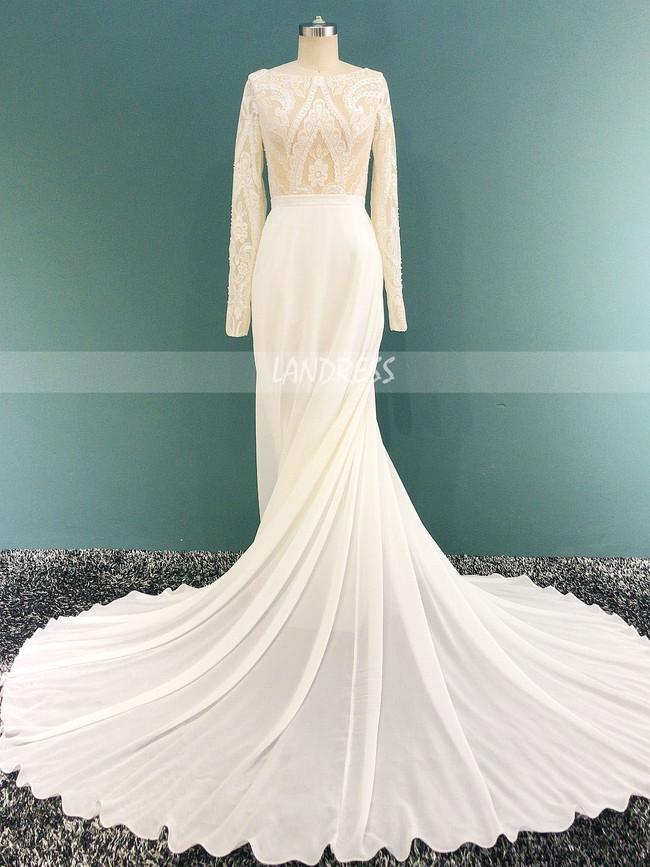 Boho Wedding Dress,Modest Wedding Dress with Long Sleeves,12164