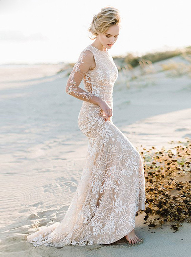 Fit and Flare Lace Gown with See Through Back and Sleeves,12165