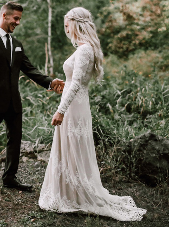 Modest Boho Destination Bridal Dress with Long Sleeves,12166