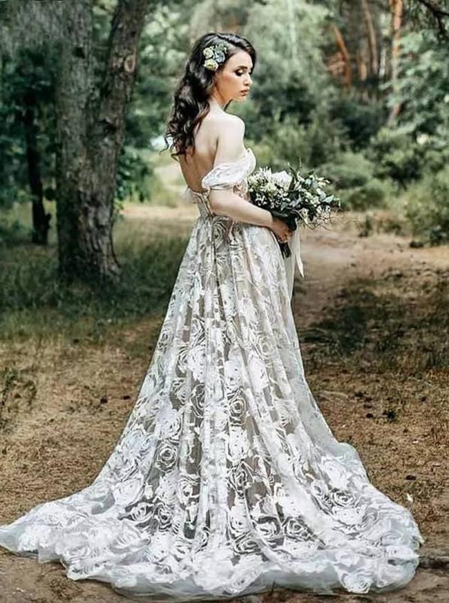 Boho Wedding Dress,Off the Shoulder Lace Wedding Dress,12167