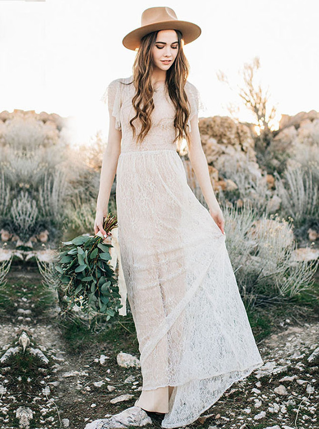 Lace Wedding Dress,Beach Wedding Dress with Sleeves,12172