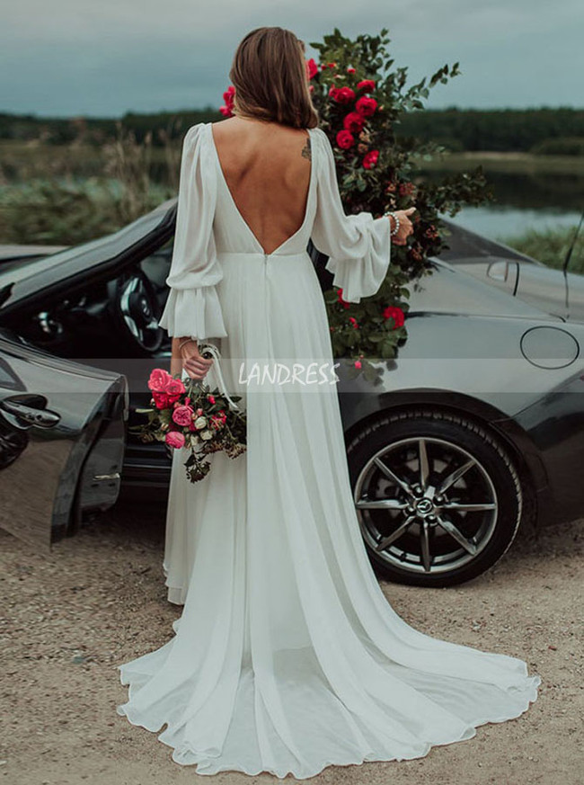 Chiffon Beach Wedding Dress with Long Sleeves,V-neck Wedding Dress,12173