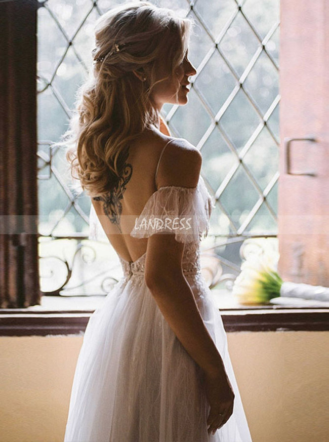 Princess Bridal Dress with Flutter Sleeves,Illusion Bodice with Open Back Wedding Dress,12174