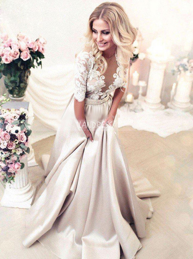 A-line Wedding Dress with Satin Skirt,Modest Bridal Dress with Lace Sleeves,12175