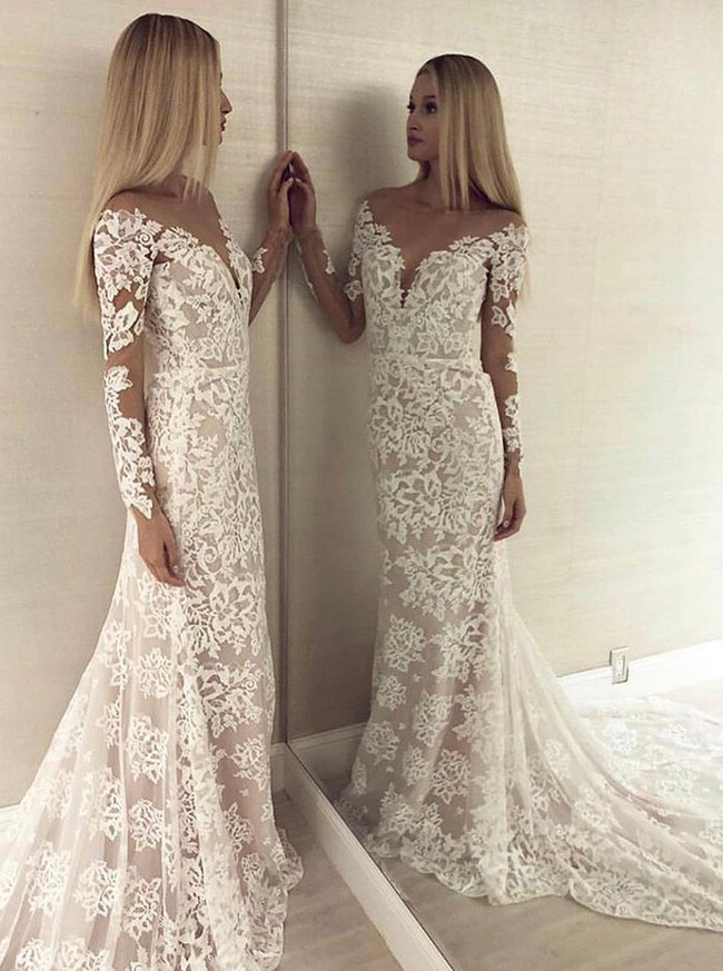 Mermaid Lace Wedding Dress with Cutout Back,Long Sleeves Slim Bridal Dress,12178