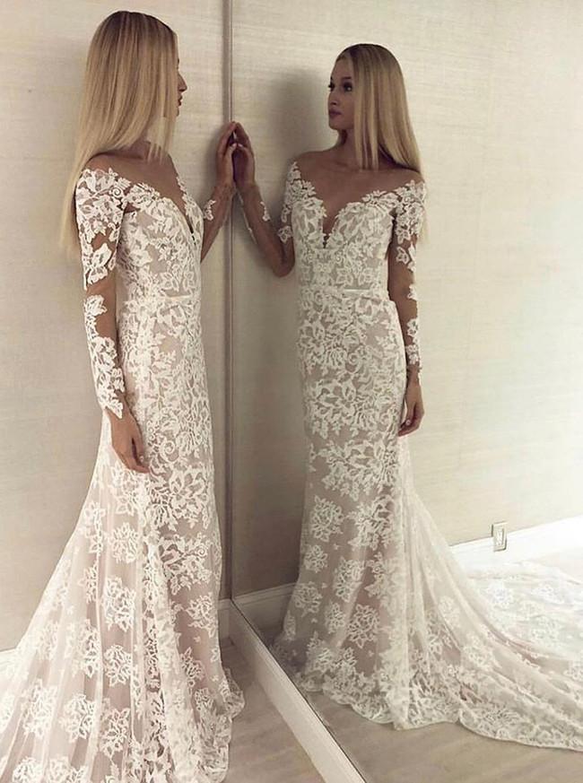 Mermaid Lace Wedding Dress with Cutout Back,Long Sleeves Slim Bridal Dress,12178