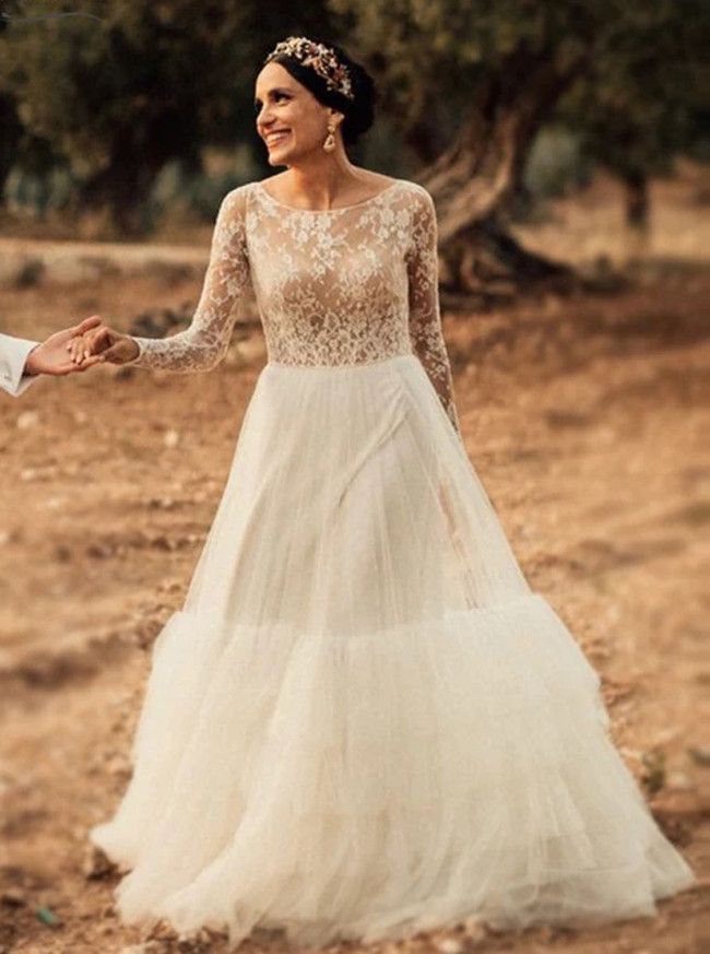 Boho Rustic Wedding Dress with Sleeves,Outdoor Bridal Dress,12180