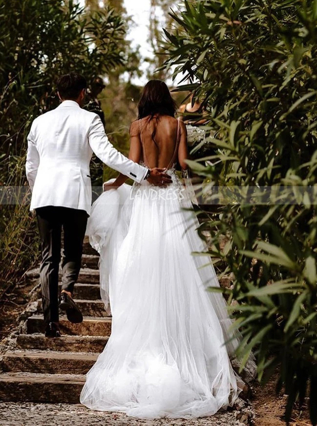 Sexy Wedding Dresses,Boho Bridal Dress with Slit,12181