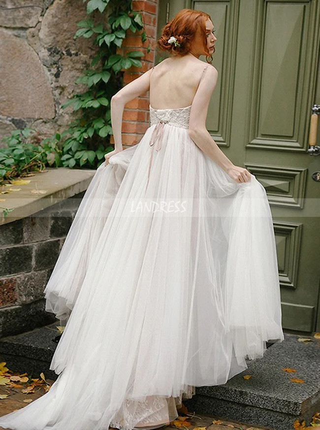 Simple Outdoor Wedding Dresses,Tulle and Lace Garden Bridal Dress,12182