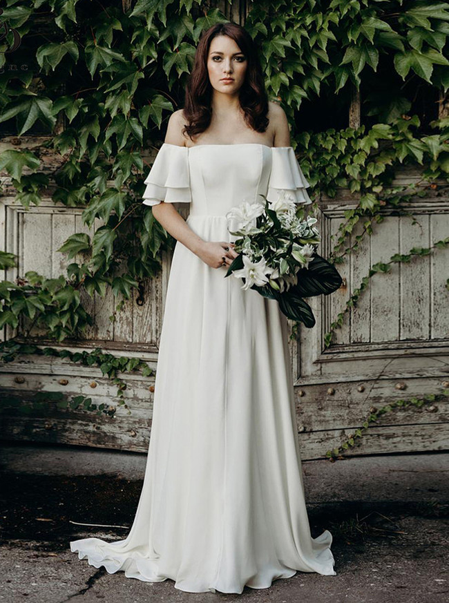 Simple Wedding Dress Off the Shoulder,Crepe Garden Wedding Dress,12184