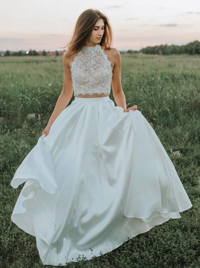 Two Piece Satin Wedding Dress,Outdoor Bridal Dress,12185