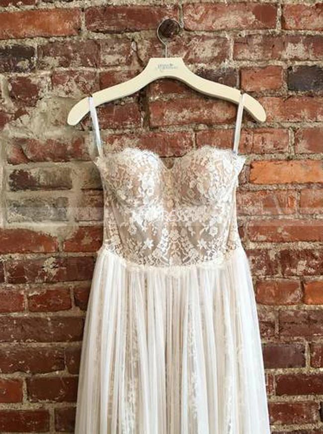 Strapless Wedding Dress,Beach Chiffon and Lace Bridal Dress,12186