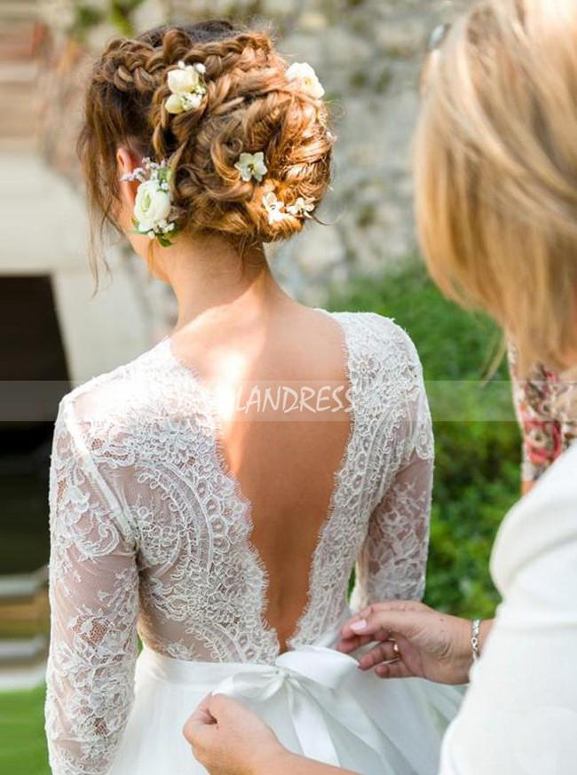 Modest Wedding Dresses,Classic Wedding Dress with 3/4 Length Sleeves,12187