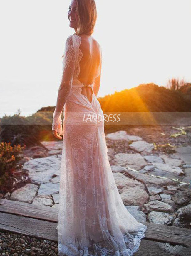 Sexy Sheath Wedding Dress with Long Sleeves,Lace Wedding Dress Open Back,12188