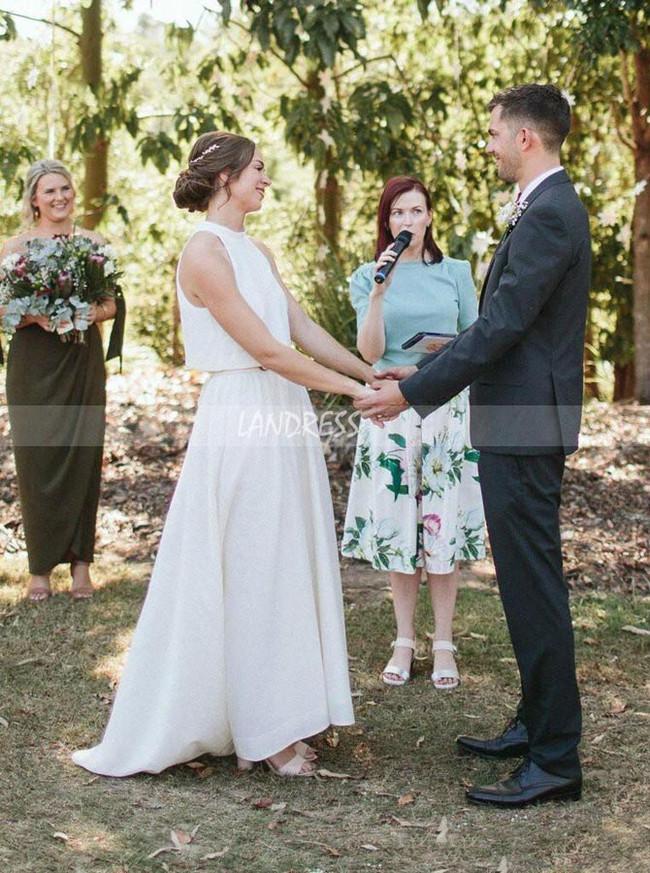 Two Piece Wedding Dress,Garden Bridal Dress,12189