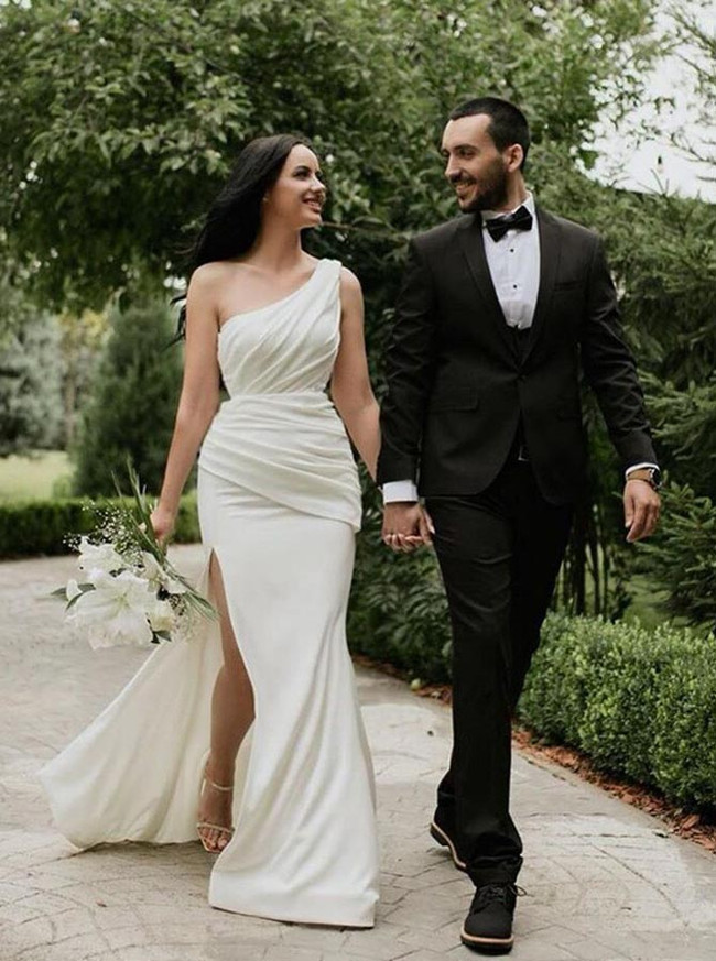 Sheath One Shoulder Wedding Dress with Slit,12190