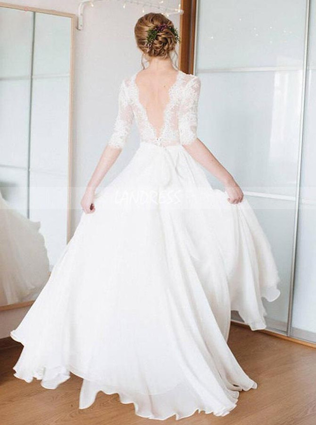 Modest Chiffon Wedding Dress with Sleeves,Inexpensive Rustic Bridal Dress,12191