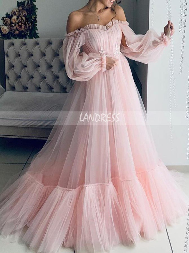 A-line Wedding Dress with Sleeves,Off the Shoulder Tulle Bridal Dress,12192