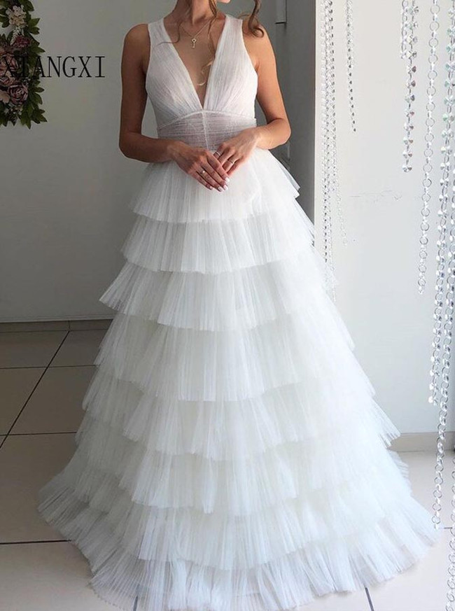 Princess Wedding Dress with V-neck,Cascading Ruffled Bridal Gown,12193
