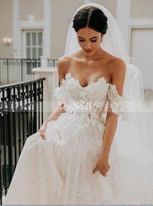 A-line Wedding Dress with Off the Shoulder Neckline,Princess Bridal Gown,12194