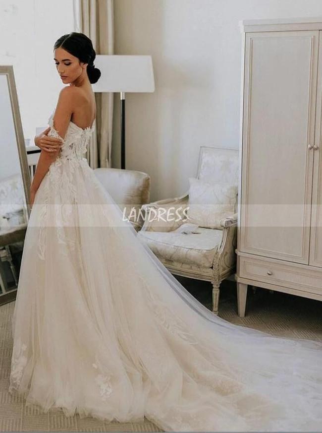 A-line Wedding Dress with Off the Shoulder Neckline,Princess Bridal Gown,12194