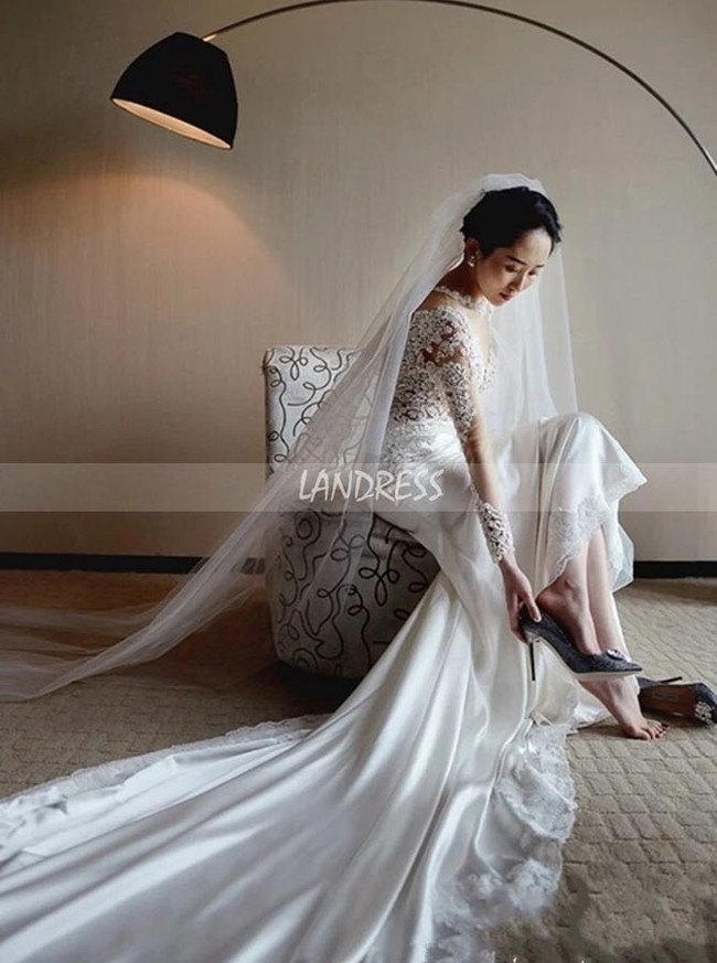 Mermaid Wedding Dress with Long Sleeves,Stunning Bridal Dress,12195