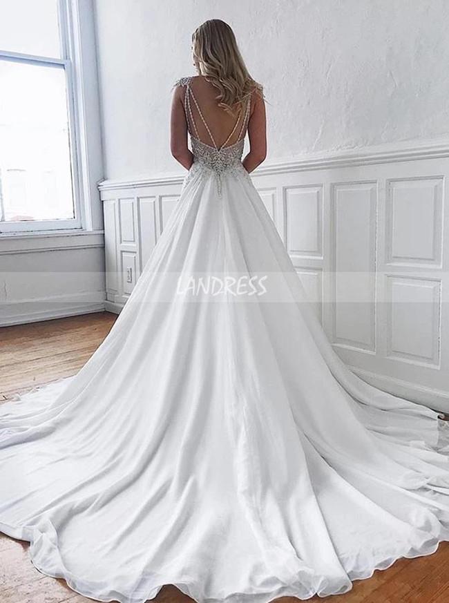 A-line Chiffon Bridal Dress with Sweep Train,Elegant Wedding Dress,12196