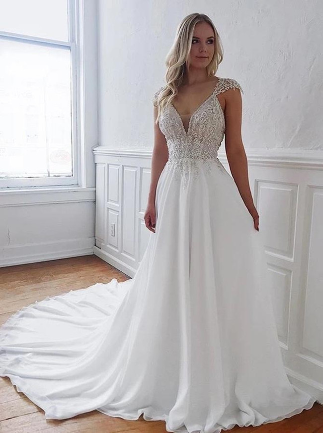 A-line Chiffon Bridal Dress with Sweep Train,Elegant Wedding Dress,12196