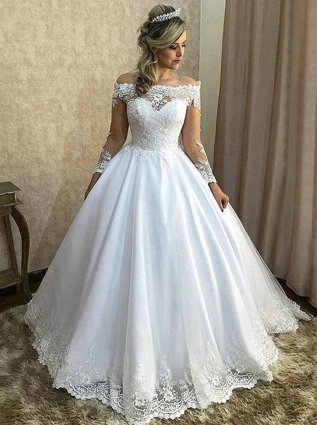 Ball Gown Wedding Dress with Long Sleeves,Classic Off the Shoulder Bridal Gown,12197