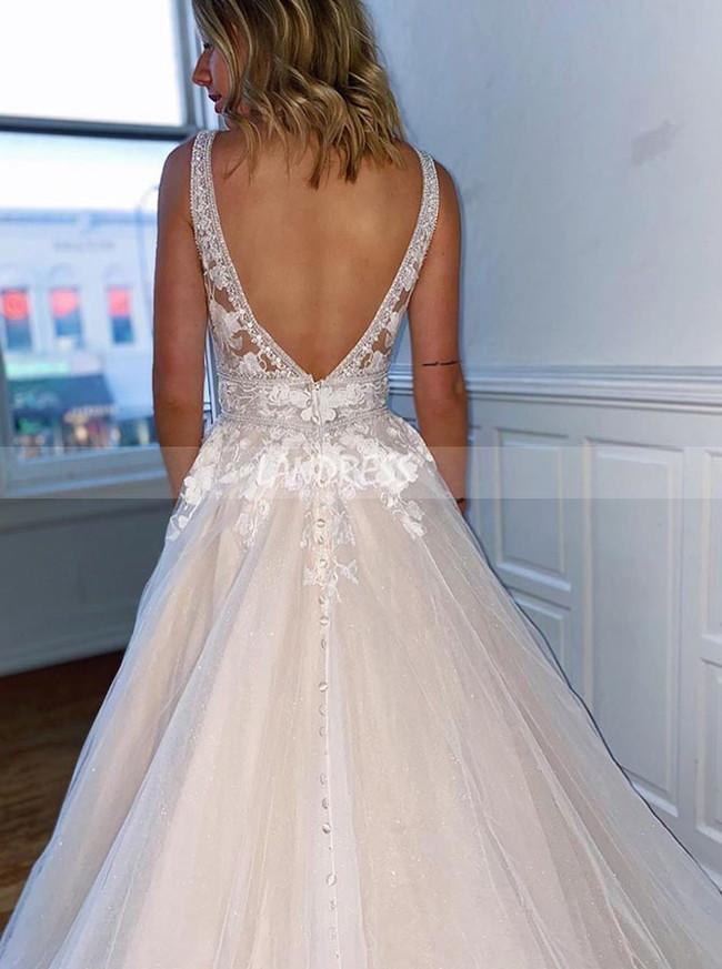 Elegant Wedding Dress,A-line Princess Bridal Dress V-neck,12198