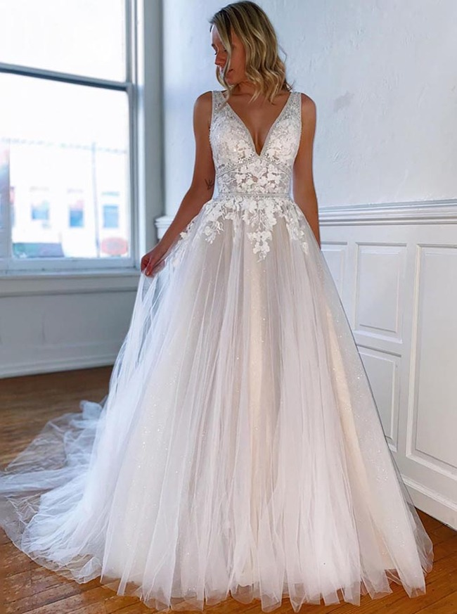 Elegant Wedding Dress,A-line Princess Bridal Dress V-neck,12198