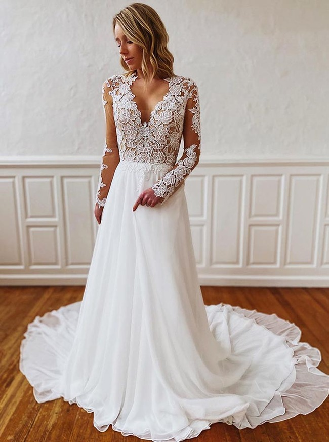 Modest Chiffon Wedding Dress with Sleeves,Garden Wedding Dress,12199