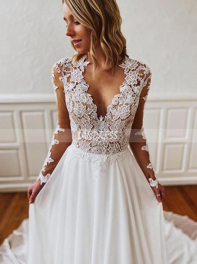 Modest Chiffon Wedding Dress with Sleeves,Garden Wedding Dress,12199