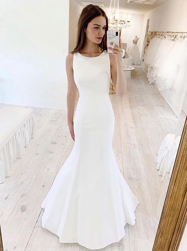 Mermaid Wedding Dress Cutout Back,Simple Bridal Dress,12200