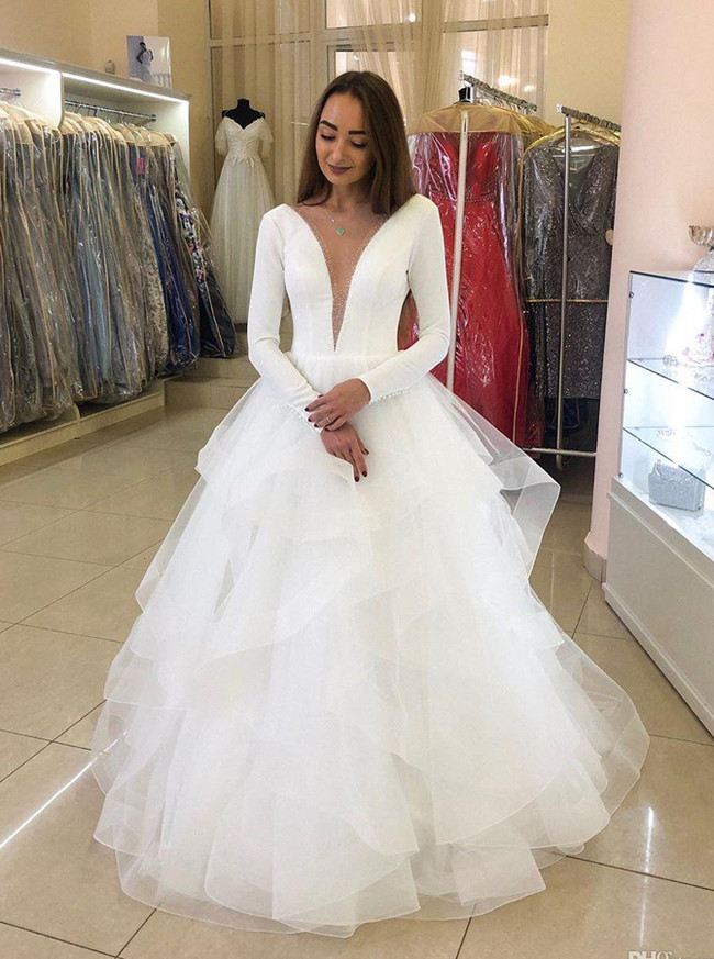 Long Sleeves Ruffled Bridal Gown,Modern Unique Wedding Dress,12202
