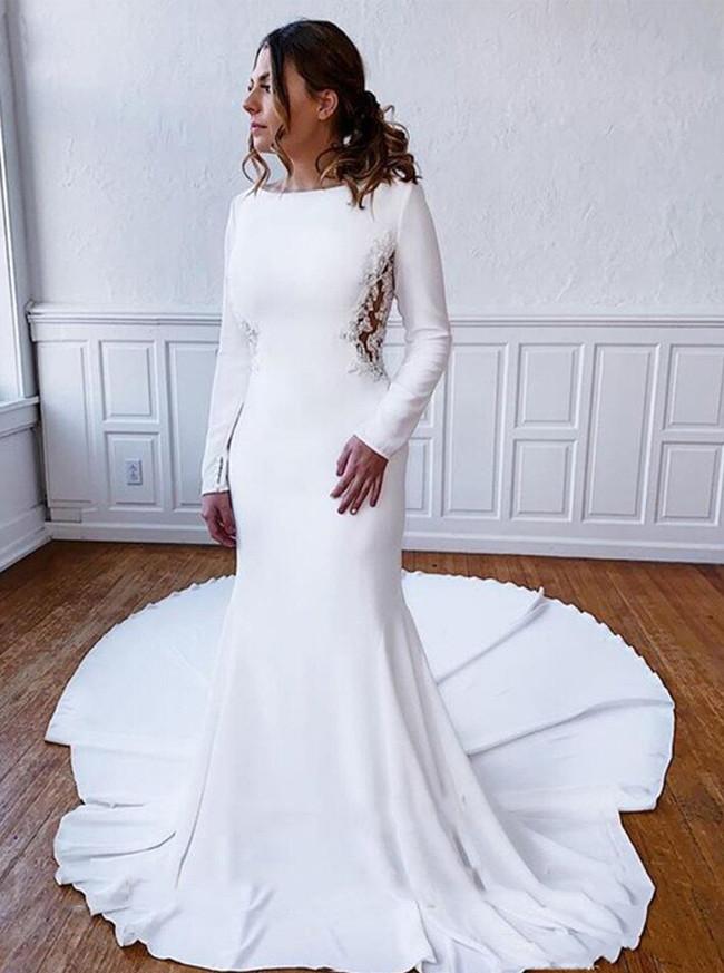 Modest Mermaid Crepe Wedding Dress with Long Sleeves,12204