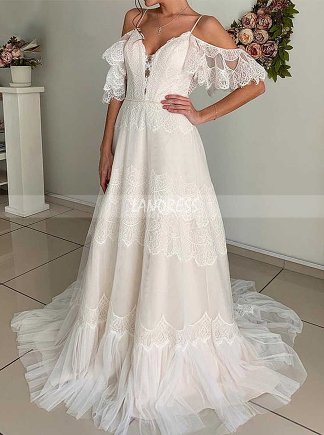 Boho Wedding Dress,Lace and Tulle Bridal Dress Outdoor,12205